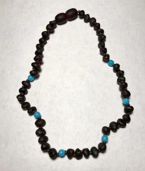 Inspired by Finn Baltic Amber (Teething) Necklace - Azure Stone Molasses