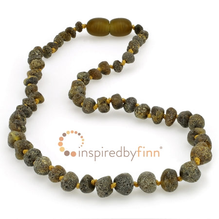 Inspired by Finn Baltic Amber (Teething) Necklace - Raw Dark Green & Black SeaAmber