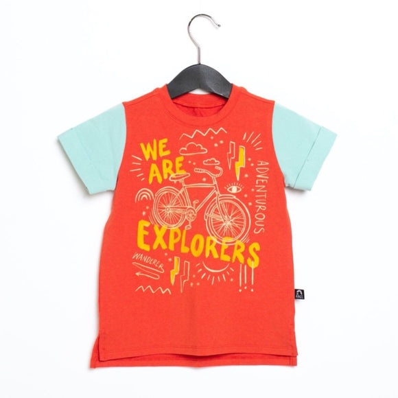 Rags Rolled Sleeve Kids Tee 'We Are Explorers' in Red Clay