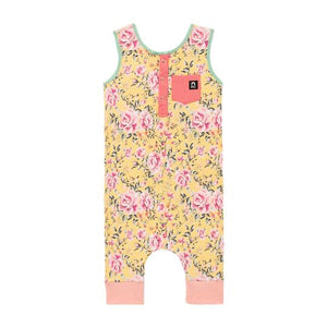 Rags to Raches Tank Henley Pocket Capri Rag in Yellow Floral