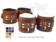 Brown Leather Bondage Cuff Restraints - Locking Buckle - Rich Russet Oxblood Leather
