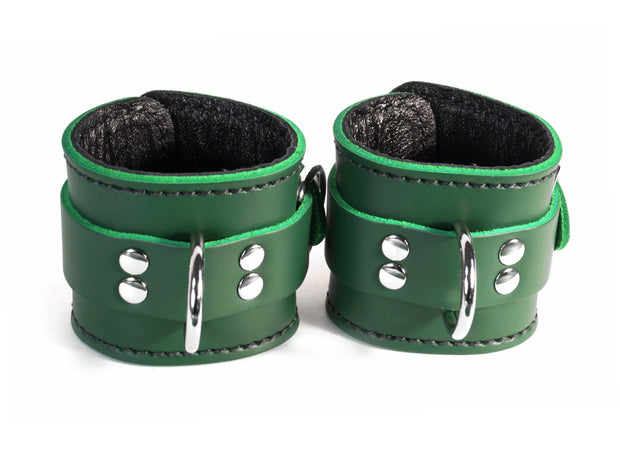 Dark Forest Green Locking BDSM Cuffs - Leather - Custom Colours