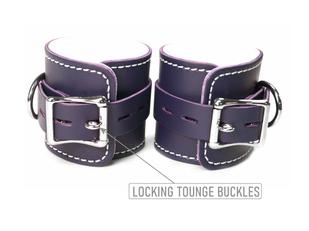 Purple Leather Cuff Restraints - BDSM Locking Bondage - Wrist Ankle Cuffs