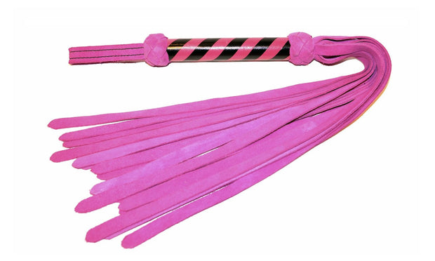 pink suede flogger with 19 inch tails and leather handle