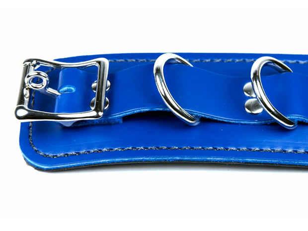 Royal Blue Leather BDSM Cuff Bondage Restraint - Locking Buckle - Male Slave Wrist Cuffs