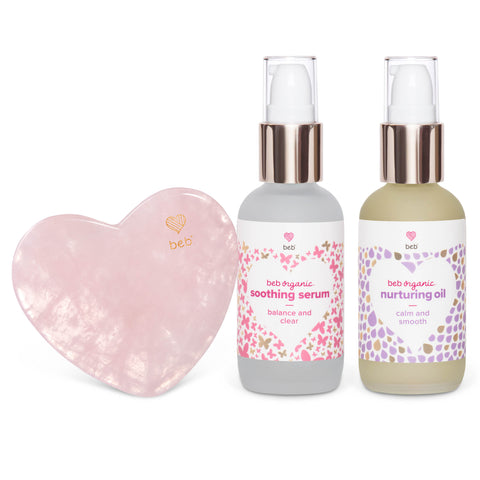 BEB Organic Soothing and Nurturing Gua Sha set is probiotic baby skincare