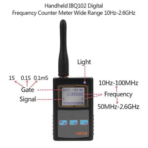 Alloet Handheld IBQ102 Digital LCD Display Frequency Counter Meter Data Hold Dual Band Wide Range 10Hz-2.6GHz for Baofeng