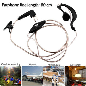 Alloet 2 Pin PTT Mic Acoustic Air Tube Clip Earpiece Headset for Walkie Talkie for police, soldiers, bodyguards