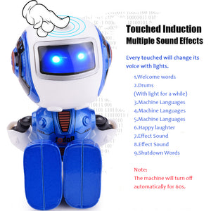 Fansaco Mini Robot Cute Alloy Robot Lighting Voice Intelligence Induction Joint Rotation Toys For Children Boys Birthday Gift