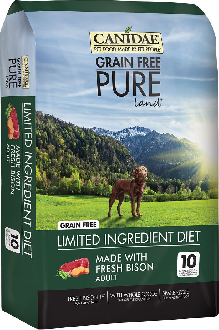 Canidae Grain-Free Pure Land with Bison Limited Ingredient Diet Adult Dry Dog Food, 10 lb
