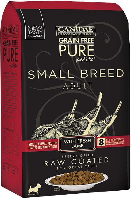 CANIDAE Grain Free PURE Petite Small Breed Dog Dry Raw Coated Formula with Lamb, 10 lbs.