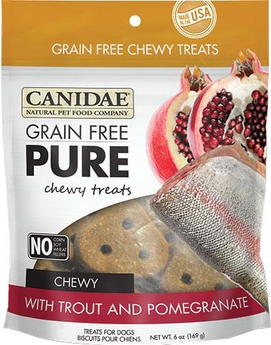 Canidae Grain Free Pure Chewy Dog Treats With Trout & Pomegranate, 6 Oz.