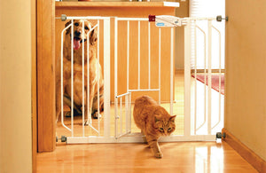 Extra Wide Walk-thru Pet Gate With Pet Door - iPupnStuff.com