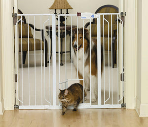 Extra Tall Walk-thru Pet Gate With Pet Door - iPupnStuff.com