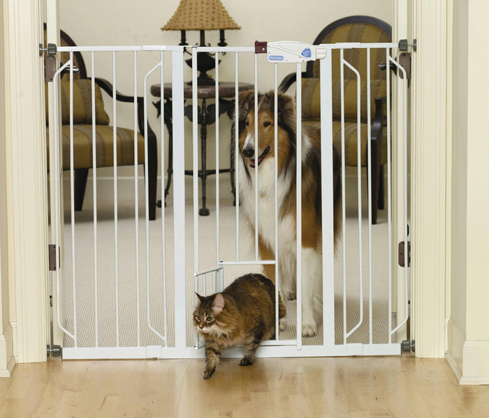 Extra Tall Walk-thru Pet Gate With Pet Door