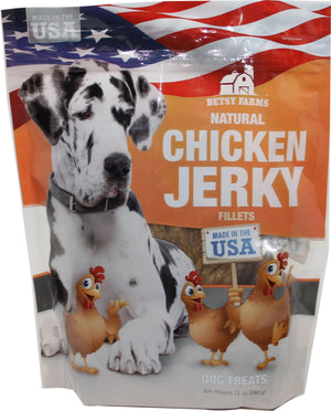 Betsy Farms Chicken Jerky Dog Treats 12 OZ. - iPupnStuff.com