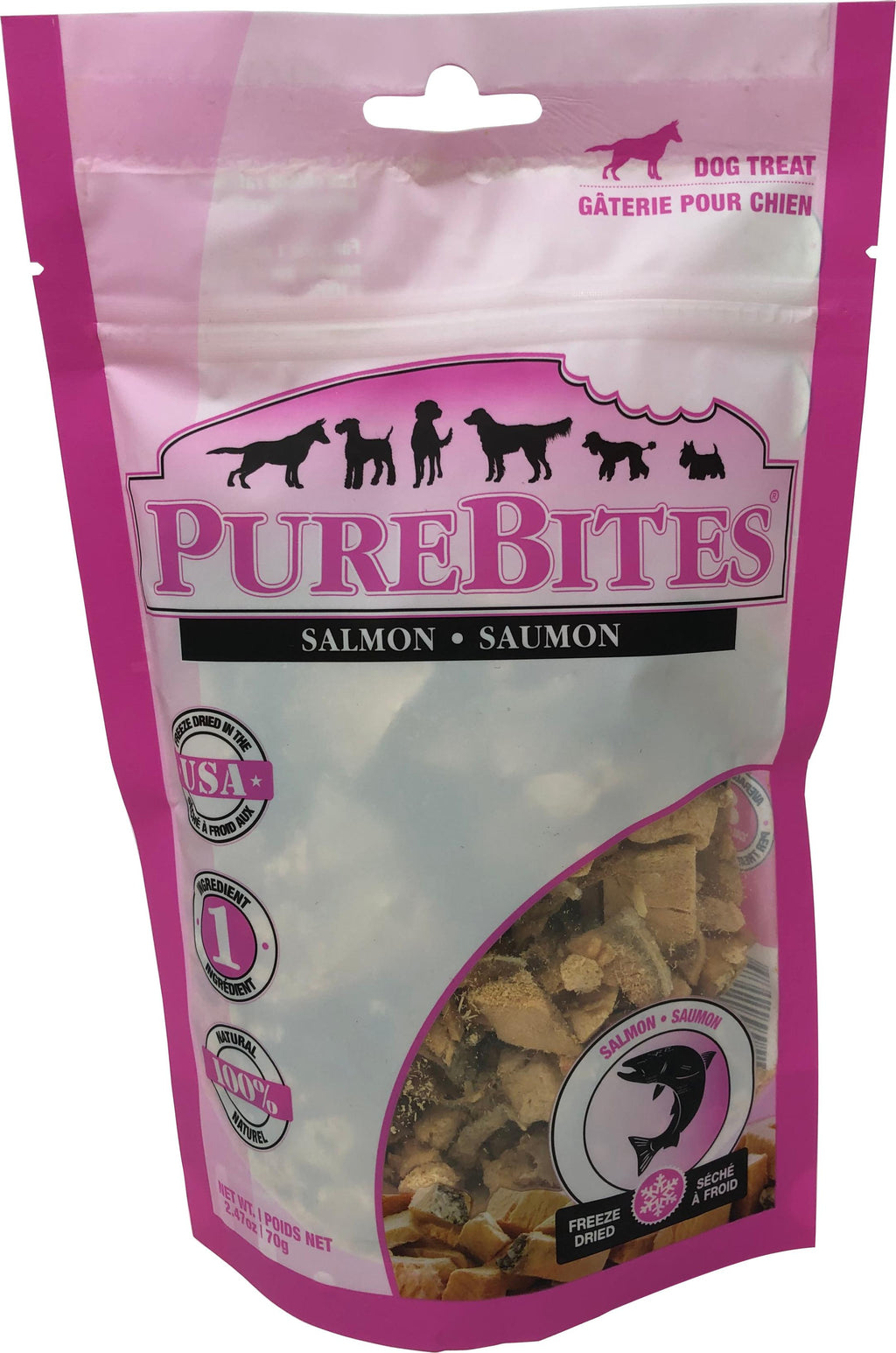 PureBites Salmon Freeze Dried Dog Treats 2.47 Oz