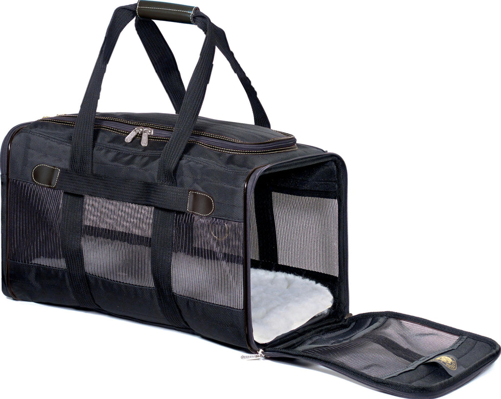 "Sherpa Deluxe Carrier Small; 15"" L X 10"" W X 8.5"" H; Black; For Pets up to 8 lbs. - iPupnStuff.com"
