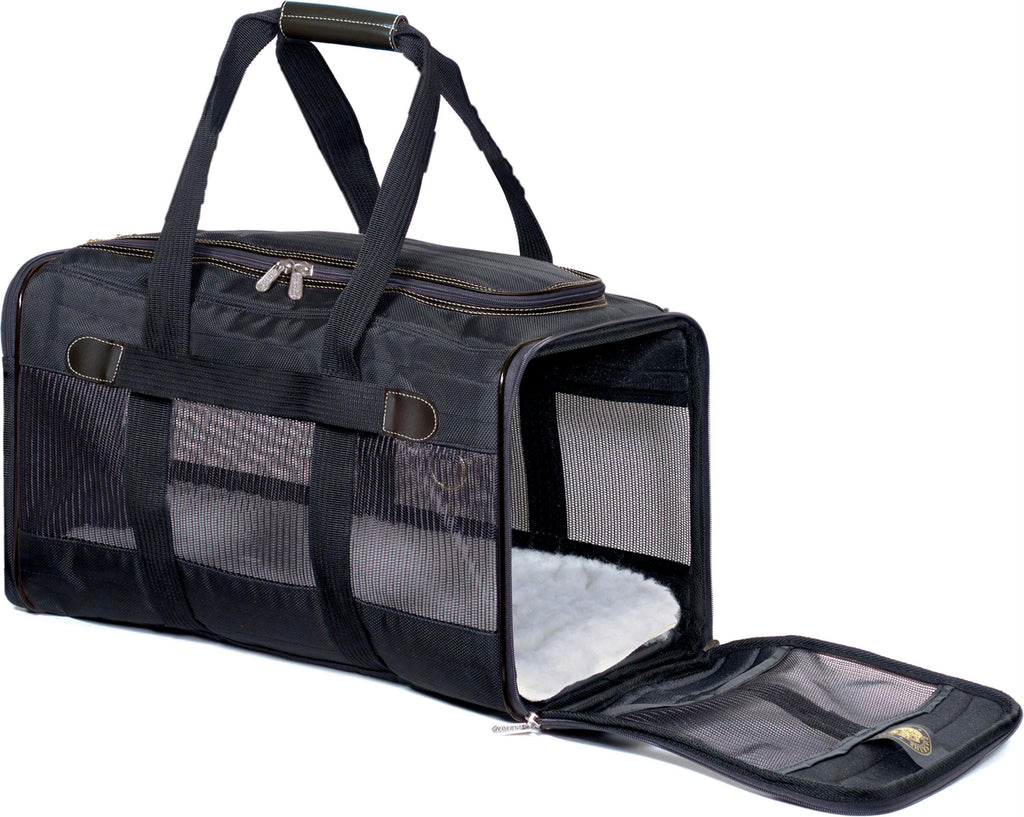 "Sherpa Deluxe Carrier Large; 19"" L X 11.75"" W X 11.5"" H; Black; For Pets up to 22 LBS - iPupnStuff.com"