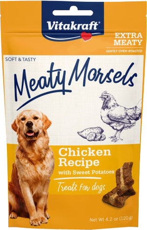 Vitakraft Meaty Morsels Chicken Recipe Treats for Dogs, Extra Meaty