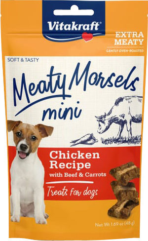 Vitakraft Meaty Morsels Mini Chicken Recipe Treats for Dogs, Extra Meaty