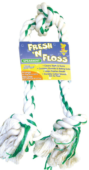 Fresh-n-floss 3-knot Rope Bone Dog Toy - iPupnStuff.com