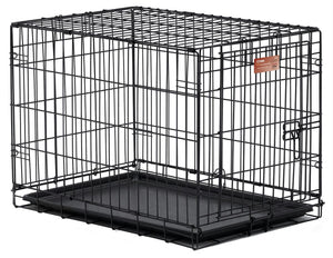 "Midwest iCrate Single Door Dog Crate w-Plastic Pan and Divider Panel 18"" x 12"" x 14"""
