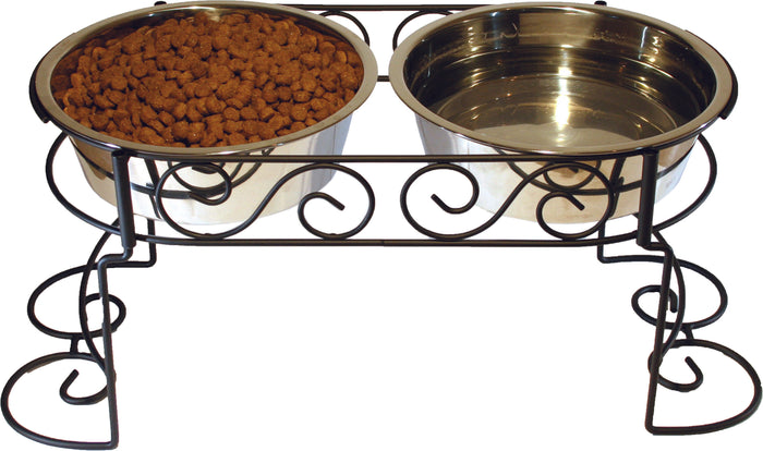 Stainless Steel Scroll Work Double Diner