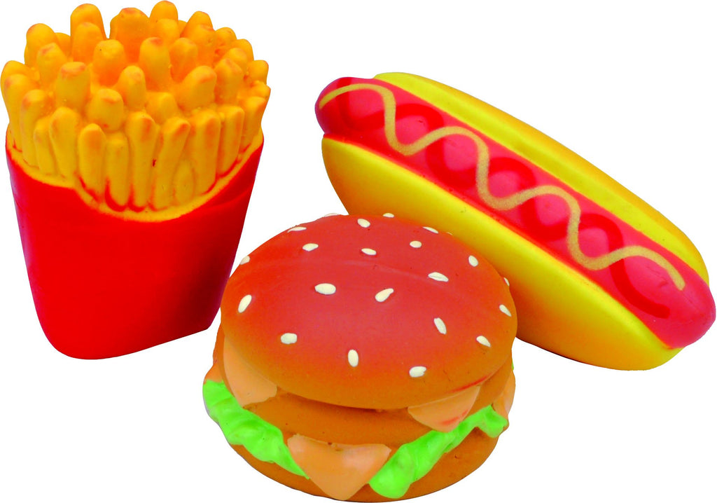 Lil Pals Latex Hamburger Fries & Hot Dog Toy Set - iPupnStuff.com