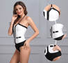 Color Block Bodysuit - Black/White - TGCboutique