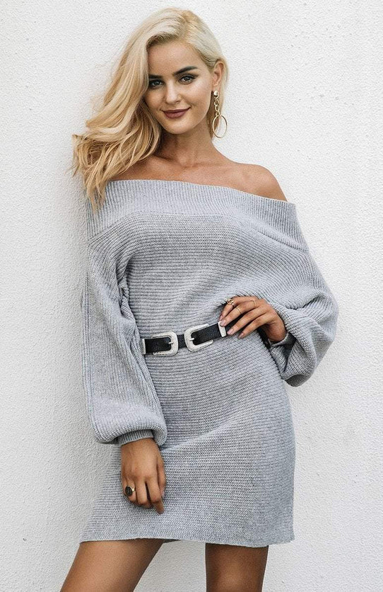 Stupid Love Sweater Dress - Gray - TGCboutique