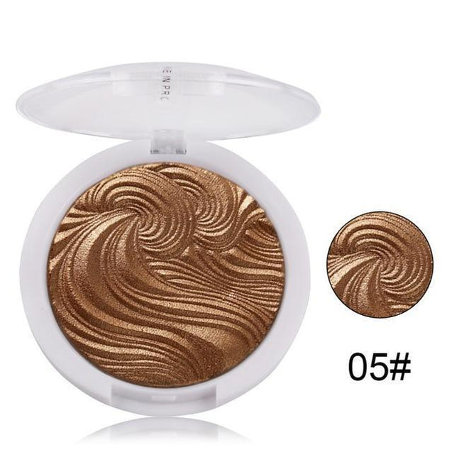 MISS ROSE Shimmer Golden Highlighter Powder Palette Face Base Illuminator Makeup Bronzers Highlight Baking Powder Face Makeup - TGCboutique