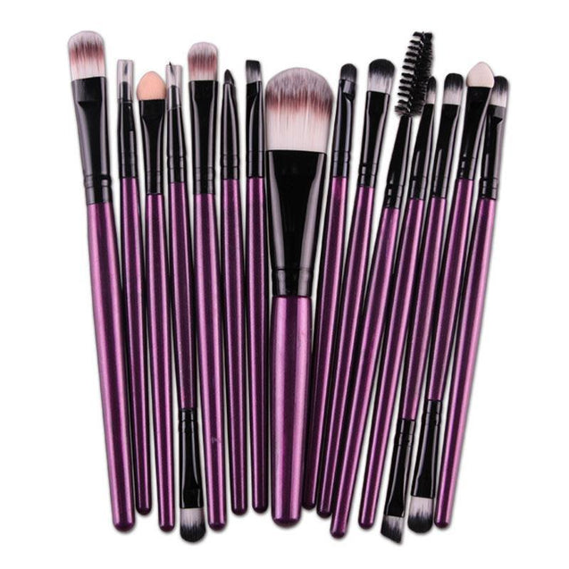 15 pcs/Sets Makeup Brushes Set Eye Shadow Pro Foundation Eyebrow Lip Brush Pro Makeup Brushes For Women Lady Purple Color H7JP - TGCboutique