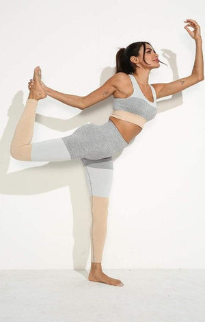 Squat Proof Patchwork Yoga Set - Khaki - TGC Boutique