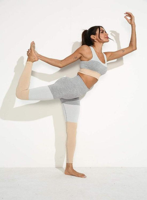 Squat Proof Patchwork Yoga Set - Khaki - TGCboutique