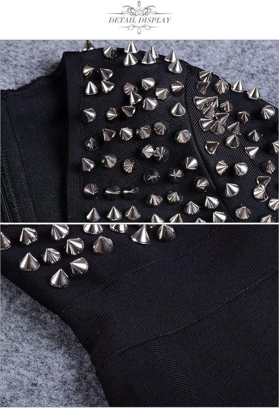 Deep V-Neck Studded Rivet Dress - TGCboutique