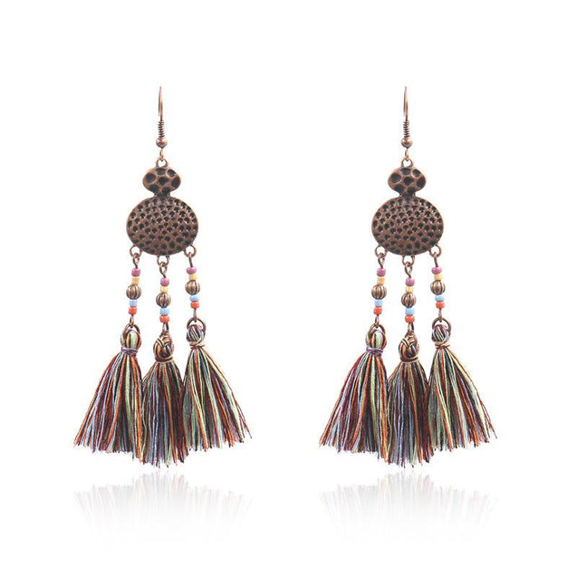 Woven Silk Geometric Fan Tassel Bohemian Earrings - TGCboutique