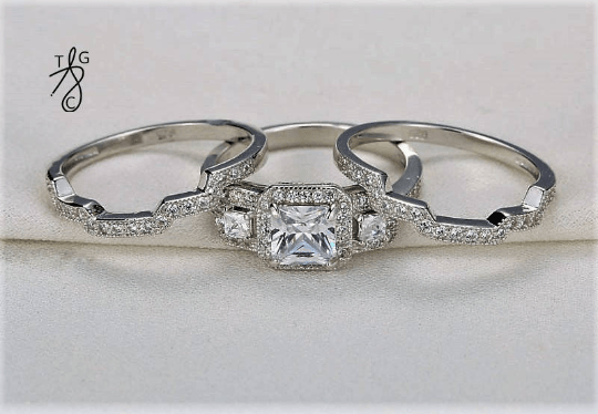 Enchanted Sterling Silver Engagement Ring Set - TGCboutique