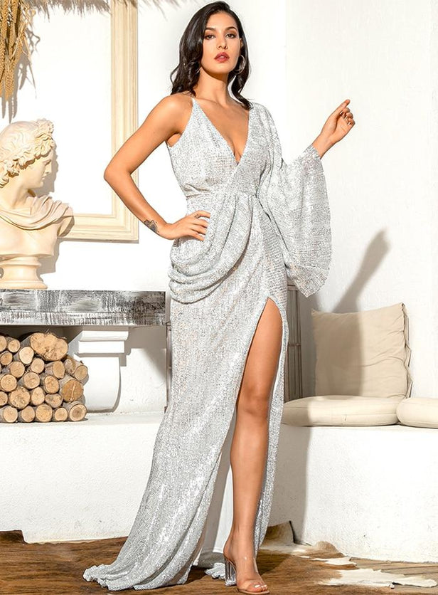 Silver V-Neck Single Sleeve Sequins High Slit Ball Gown Long Dress - TGCboutique