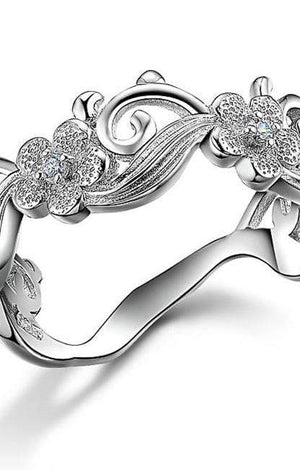 Flower Design Sterling Silver Vintage Wedding Ring - TGCboutique