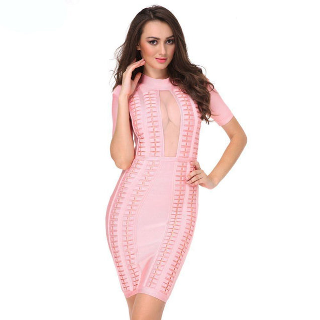 High Neck Bandage Bodycon Mesh Dress - TGCboutique