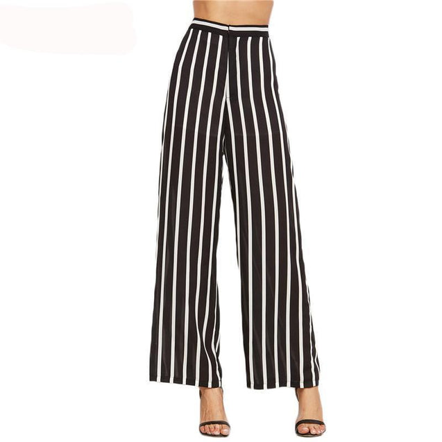 Loose Trousers Women Trousers Elegant Brand Womens Trousers Black Vertical Striped High Waist Wide Leg Pants - TGCboutique