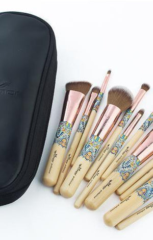 12 PC Brush Set Bamboo Make Up Collection Kit - TGCboutique