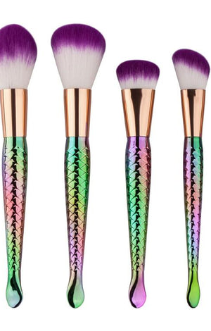 Mermaid Multicolor Makeup Brushes Set - 5 Pcs - TGCboutique