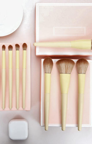 Professional Vegan Yellow & Rose Gold Premium Makeup Brush Set - 11 Pcs - TGCboutique