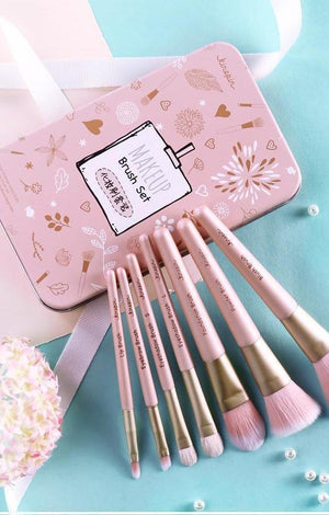 KINEPIN Premium 7 Pc Travel Artist Makeup Brush Set In Pink & White With Case - TGCboutique