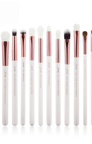 Pearl White Rose Gold 15 Pc Professional Makeup Brushes Set - TGCboutique