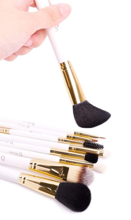 8 pc White Golden Professional Makeup Brush Set With Travel Bag - TGC Boutique