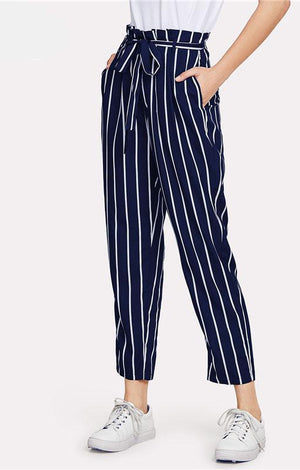 Belted Waist Navy Striped Trousers Pants - TGCboutique