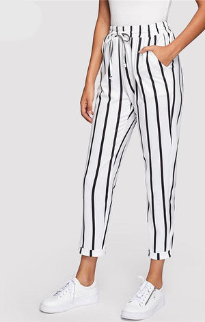 Black and White Casual Drawstring Waist Striped High Waist Tapered Carrot Pants Summer Women Going Out Trousers - TGCboutique